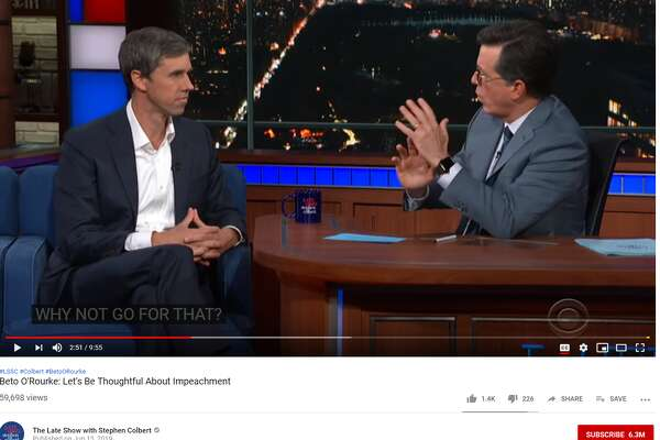 Stephen Colbert, host of The Late Show on CBS, asked Democratic Presidential candidate Beto O'Rourke why he wouldn't consider challening sitting Republican Senator John Cornyn. O'Rourke lost a close United States Senate race to Republican Ted Cruz in the 2018 mid-term elections.