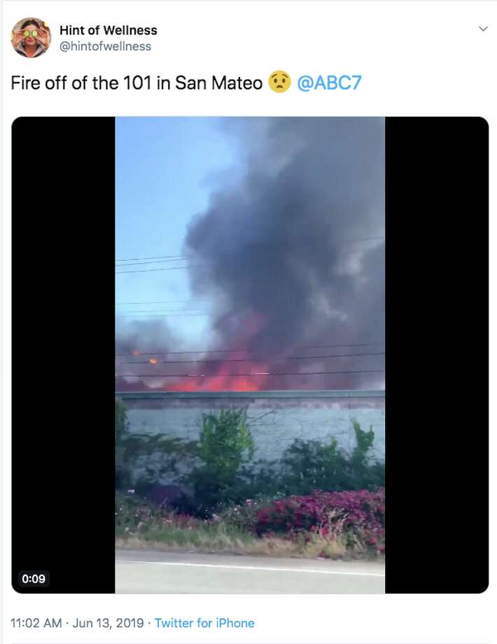A house fire burned near Highway 101 in San Mateo on June 13, 2019. Photo: Twitter Screen Capture: @hintofwellness