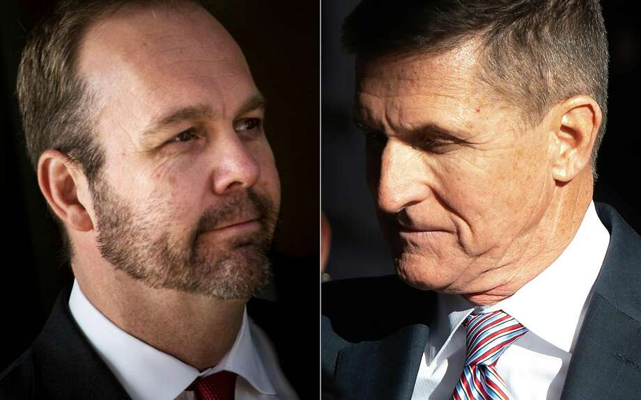 (COMBO) This combination of file pictures created on June 13, 2019 shows Former Trump campaign official Rick Gates (L) leaving Federal Court on December 11, 2017 in Washington, DC; and former US National Security Advisor General Michael Flynn arriving for his sentencing hearing at US District Court in Washington, DC. - US President Donald Trump's convicted former national security advisor Michael Flynn and former top campaign aide Rick Gates have been subpoenaed to testify to Congress, the House Intelligence Committee announced on June 13, 2019. Flynn and Gates, both key witnesses in the Russian meddling investigation of Special Counsel Robert Mueller, were ordered to appear before the committee for their probe into security threats arising from links between the Trump campaign and the Russian government. (Photos by Brendan Smialowski and SAUL LOEB / AFP)BRENDAN SMIALOWSKI,SAUL LOEB/AFP/Getty Images Photo: Brendan Smialowski, AFP/Getty Images