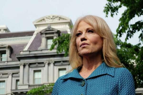 White House senior adviser Kellyanne Conway speaks to members of the media outside the White House in Washington on April 30.