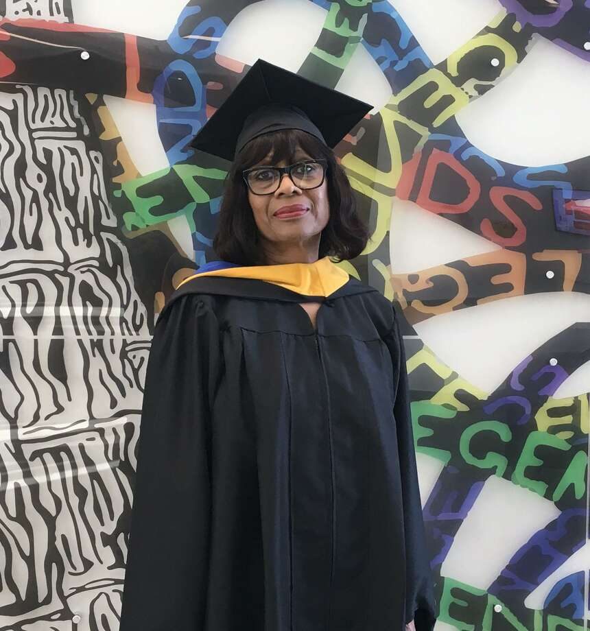 Linda McCullum, 67, recently received her master's degree in criminal justice from the University of Houston-Downtown. Photo: Courtesy Of UHD