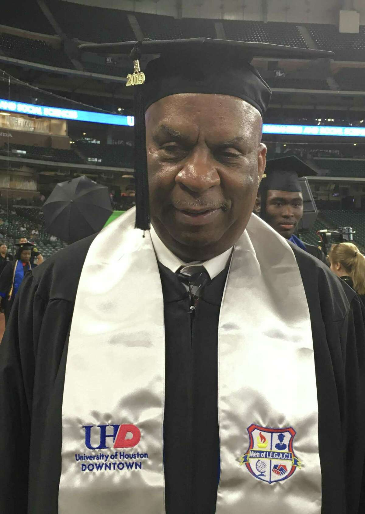 Wayne Lake, 59, is a recent graduate who earned his bachelor's degree in history from the University of Houston-Downtown.