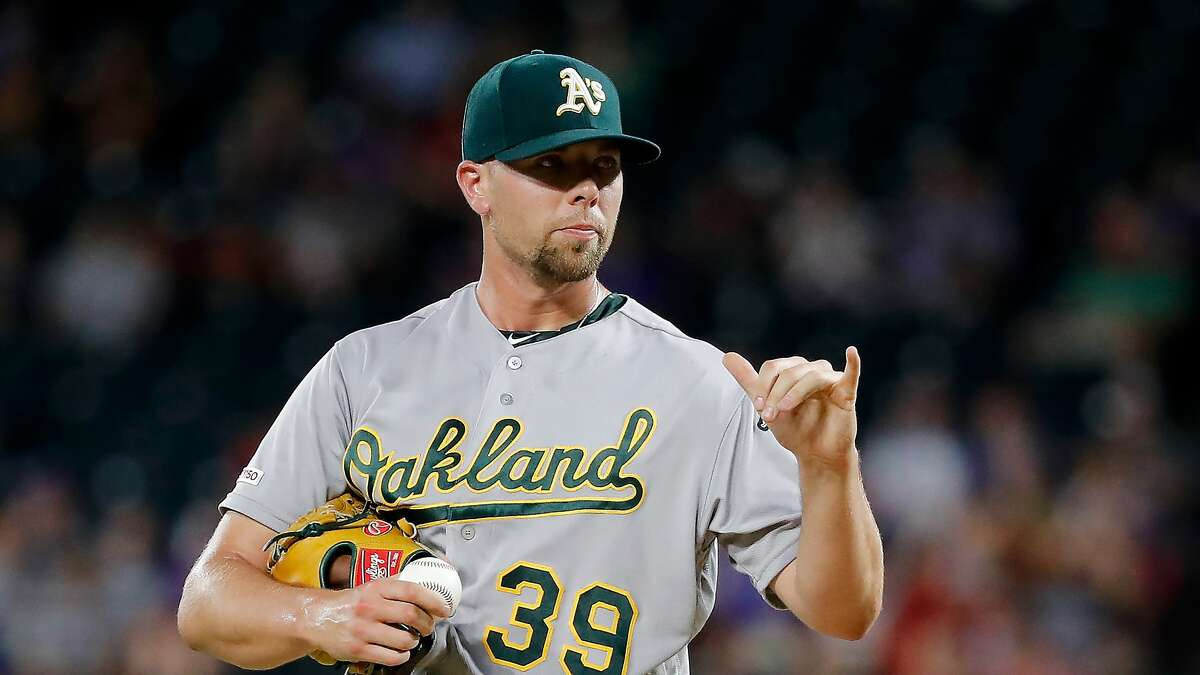 Oakland Athletics' Blake Treinen signals to the plate during a baseball game against the Texas Rangers in Arlington, Texas, Friday, June 7, 2019. (AP Photo/Tony Gutierrez)