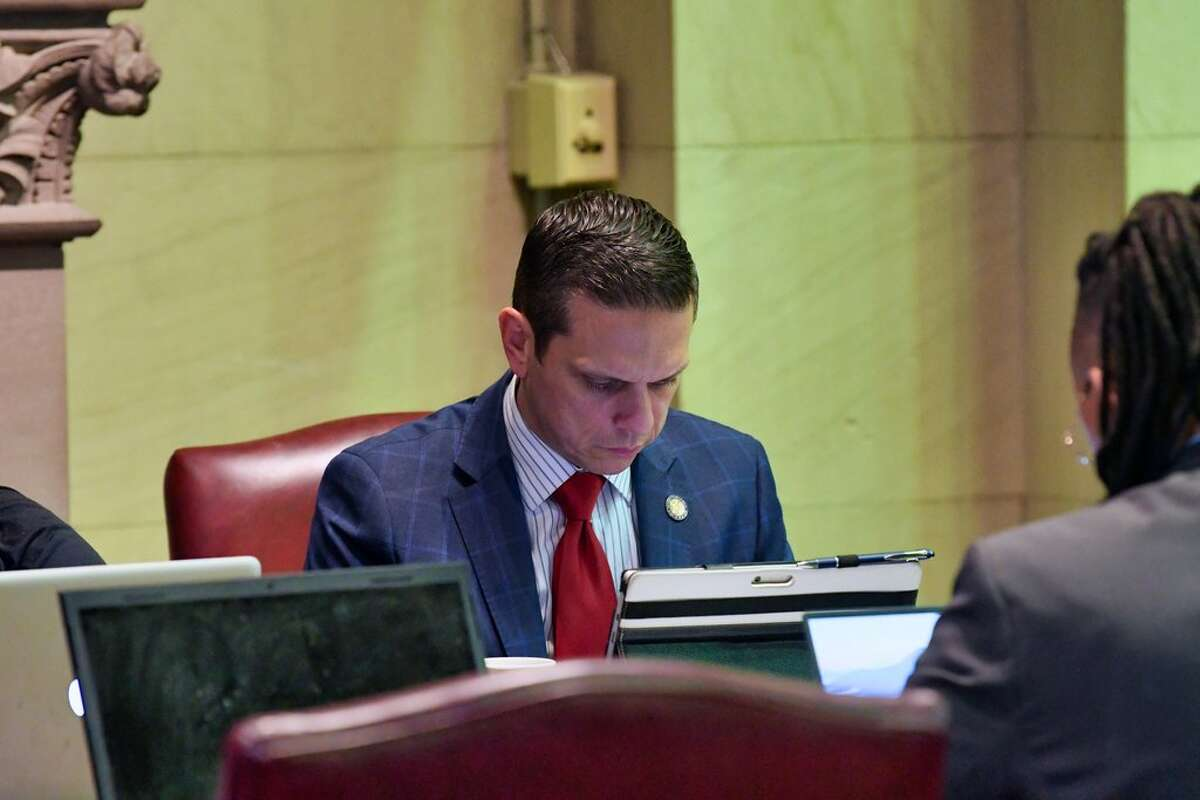 Assemblymember Angelo Santabarbara works on the floor of the Assembly on Thursday, June 13, 2019, in Albany, N.Y. (Paul Buckowski/Times Union)