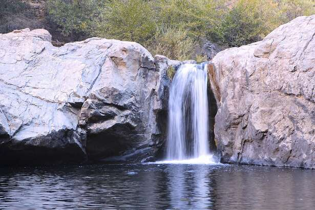 Rainbow�Pool, captured here in a time-lapse photo near dusk, is one of California's most iconic swimming holes and is located east of Groveland on a spur off of Highway 120 on the route to the Big Oak Flat entrance to Yosemite National Park