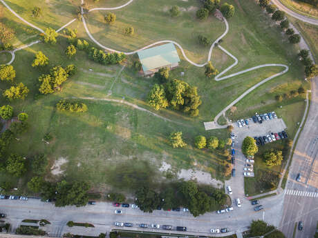 The site of Houston Endowment's future home near Spotts Park.