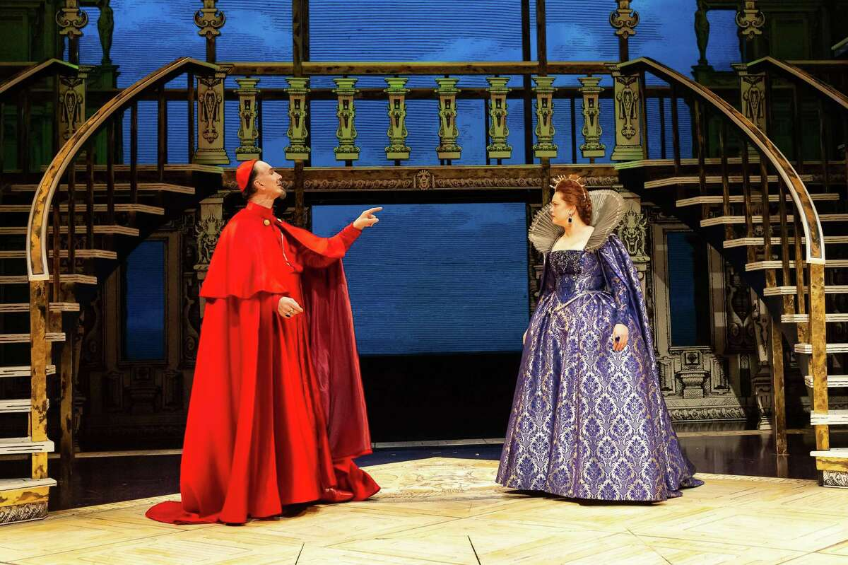 Todd Waite as Cardinal Richelieuand Melissa Pritchett as Queen Annein the Alley's production ofKen Ludwig'sThe Three Musketeers,adapted from the novel byAlexandre Dumas.