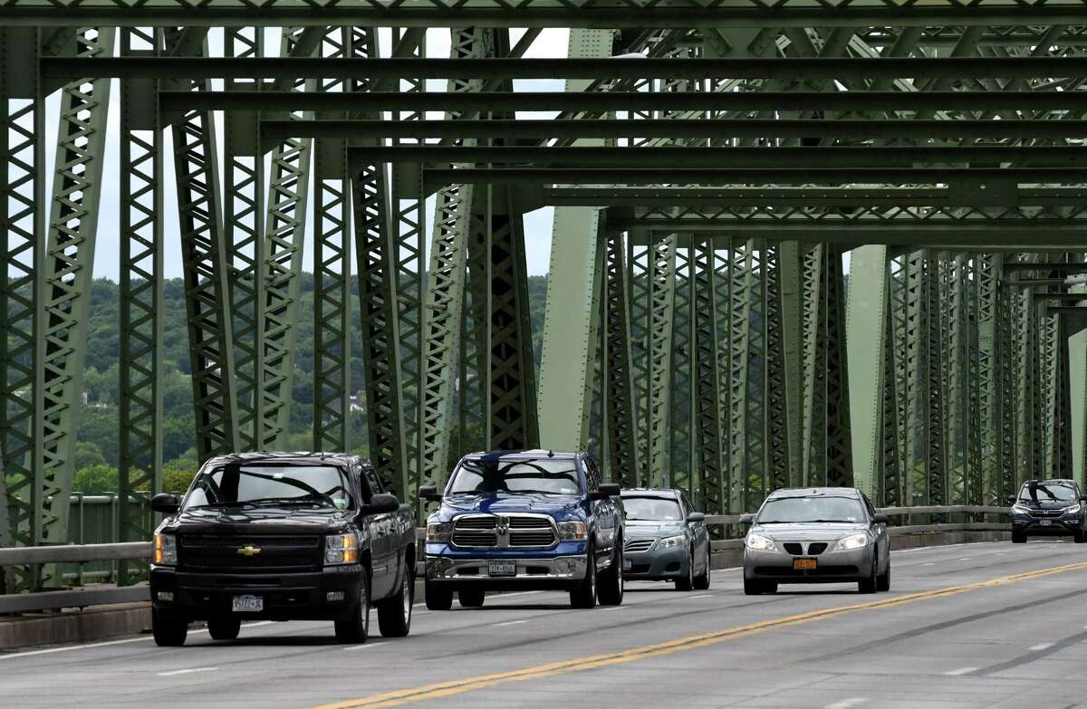 Traffic moves across the Troy-Menands Bridge on Thursday, June 13, 2019, in Troy, N.Y. A study of whether to replace the aging structure is included in the latest five-year Transportation Improvement Program approved by the Capital District Transportation Committee. (Will Waldron/Times Union)
