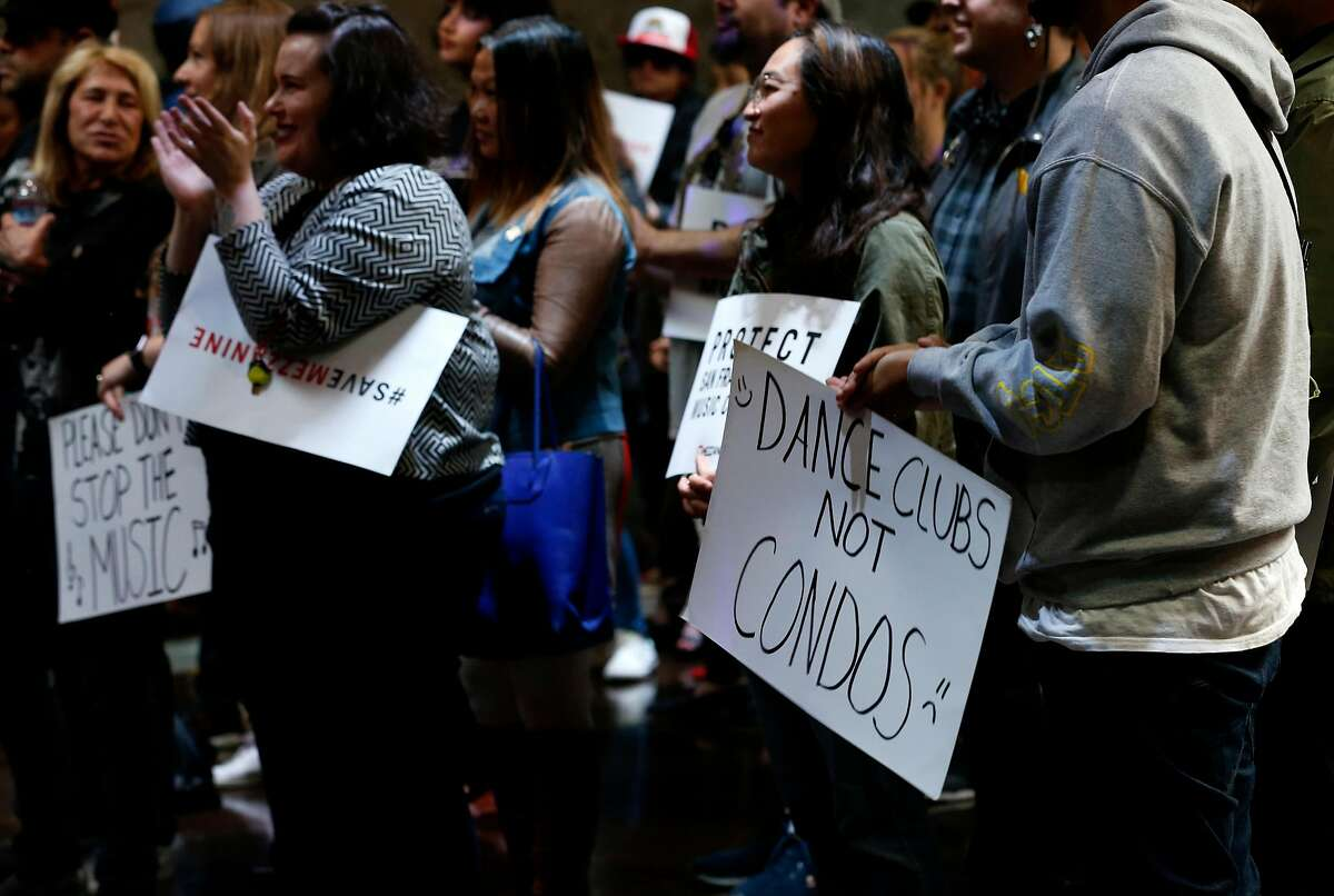 Supporters of Mezzanine on Jessie Street attend a rally to save the nightclub in San Francisco, Calif. on Thursday, June 13, 2019. Supervisor Matt Haney is introducing legislation which would make it difficult for nightclub venues to be rezoned and redeveloped for residential use.