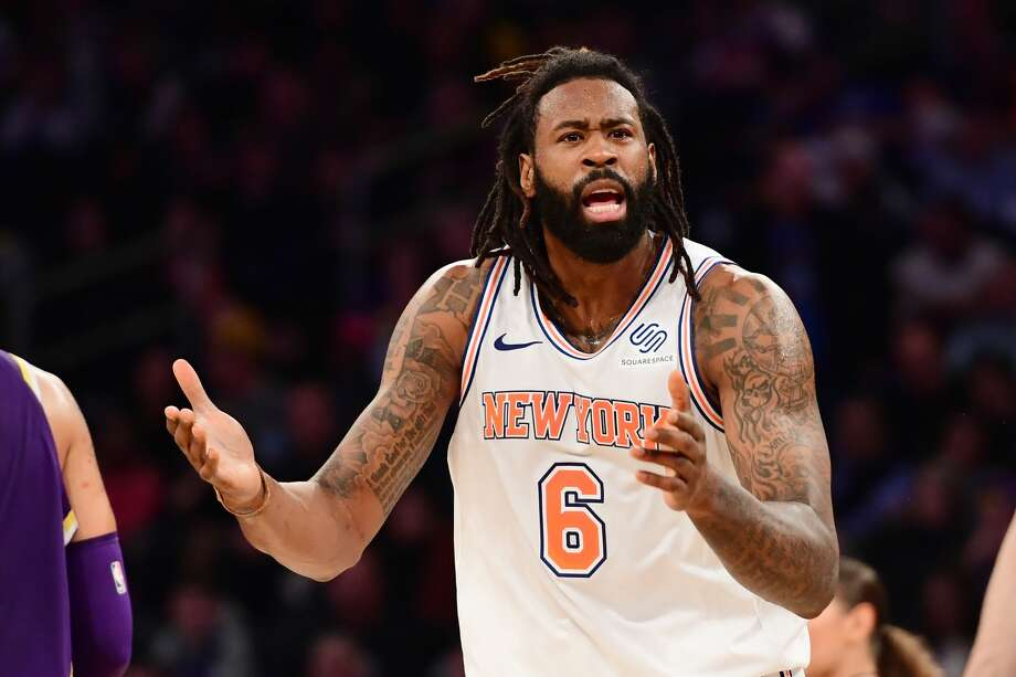 NEW YORK, NEW YORK - MARCH 17: DeAndre Jordan #6 of the New York Knicks reacts during the second half of the game against the Los Angeles Lakers at Madison Square Garden on March 17, 2019 in New York City. NOTE TO USER: User expressly acknowledges and agrees that, by downloading and or using this photograph, User is consenting to the terms and conditions of the Getty Images License Agreement. (Photo by Sarah Stier/Getty Images) Photo: Sarah Stier/Getty Images