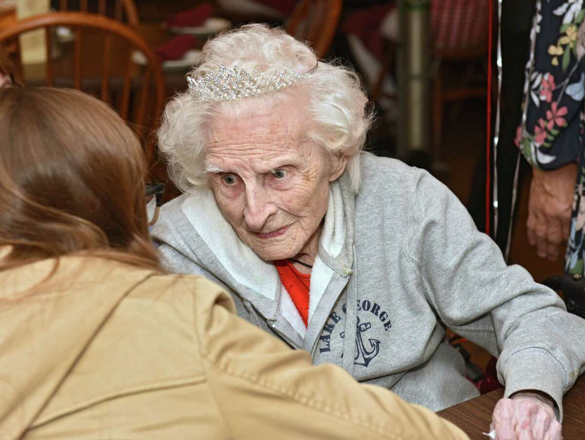 Mildred Howarth, who was born in June 1914, is interviewed as she celebrates her 105th birthday at Valente's Italian Restaurant on Thursday, June 13, 2019 in Watervliet, N.Y. (Lori Van Buren/Times Union)