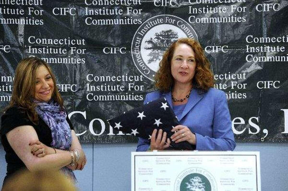 Former U. S. Rep. Elizabeth Esty (right), and Monica Bevilacqua, former Head Start director in Danbury.