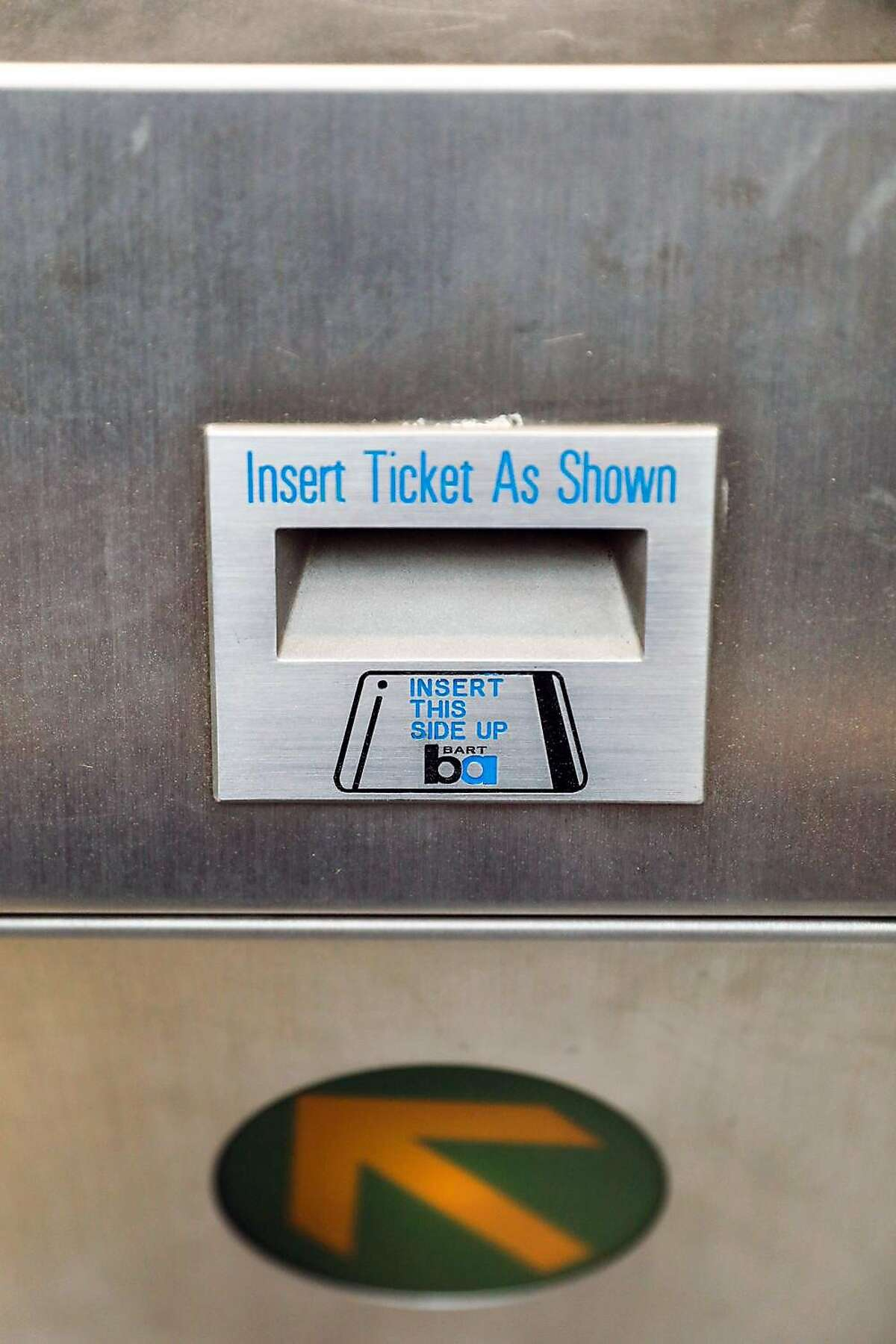 A turnstile at the new Milpitas BART station in Milpitas, California, on Wednesday, March 27, 2019.