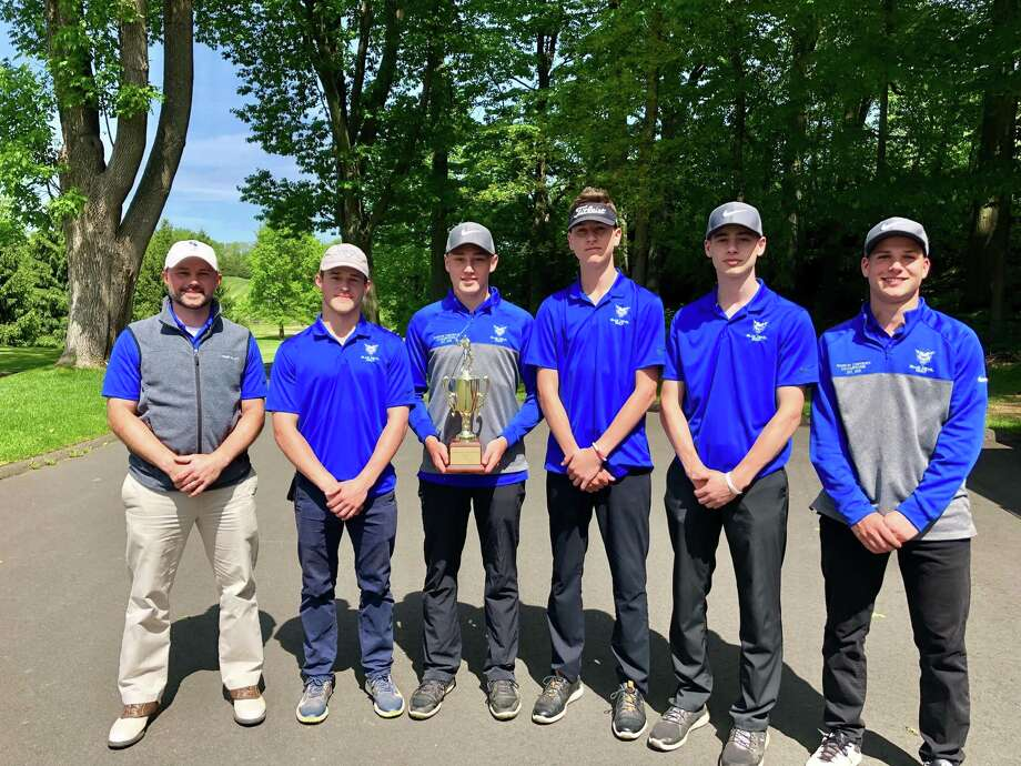 The Shoreline champion Coginchaug golf team, from left: Coach Brian Dailey, senior captain Kyle Roberts, senior captain Tyler Woodward, junior Justin Penney, senior Tom Vallone and senior EJ Dzialo. Photo: Contributed Photo / Greenwich Time Contributed