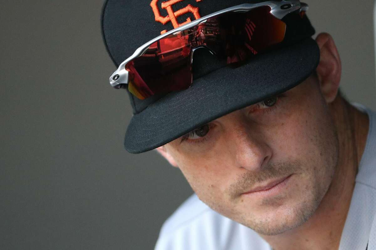 BALTIMORE, MARYLAND - JUNE 01: Mike Yastrzemski #5 of the San Francisco Giants looks on in the dugout before playing against the Baltimore Orioles at Oriole Park at Camden Yards on June 1, 2019 in Baltimore, Maryland. (Photo by Patrick Smith/Getty Images)