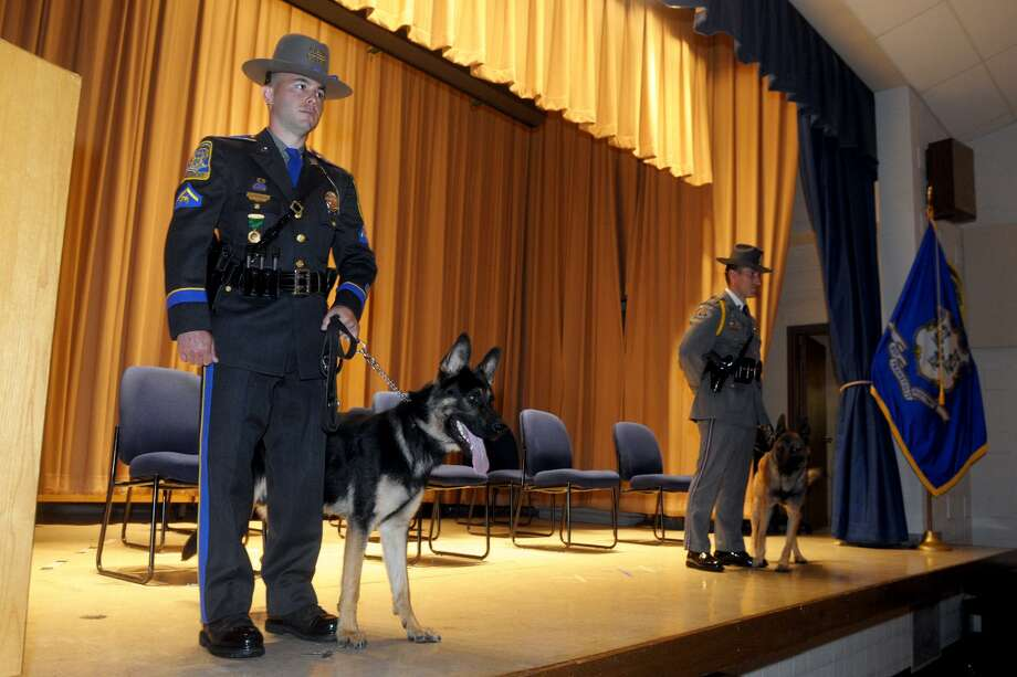 A graduation ceremony was held for the state's 201st Patrol Dog glass at the State Police Training Academy, in Meriden, Conn. June 13, 2019. Photo: Ned Gerard / Hearst Connecticut Media / Connecticut Post