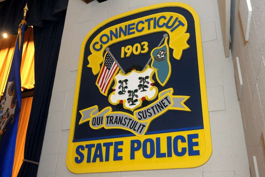 The Connecticut State Police logo. Photo: Ned Gerard / Hearst Connecticut Media / Connecticut Post