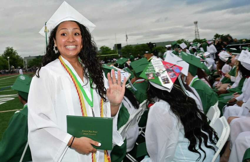 Kalyn Duarte celebrates after receiving her diploma during The Class of 2019 Norwalk High School Commencement Exercises Wednesday, June 12, 2019, in Norwalk, Conn.