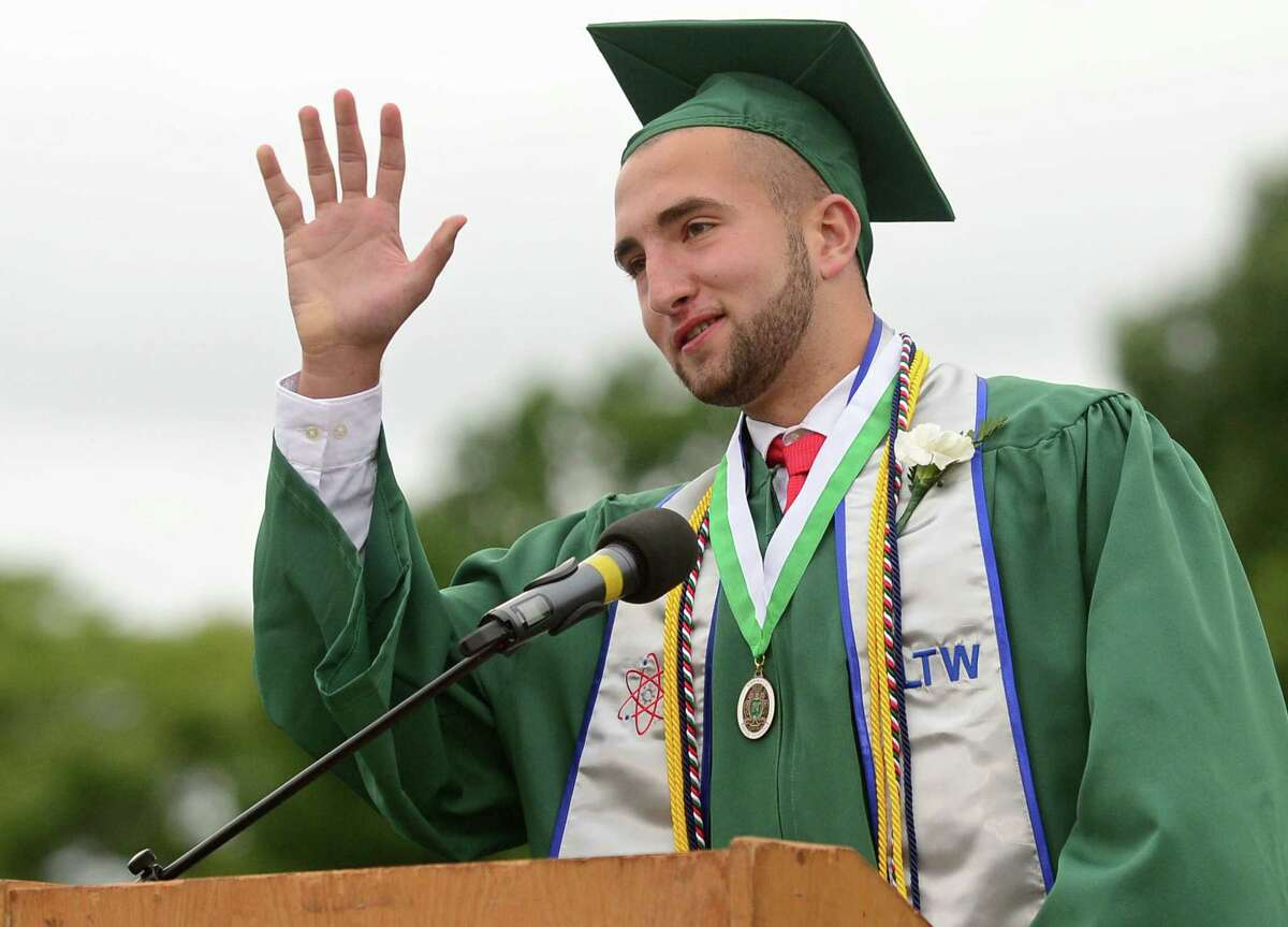 Valedictorian Gianluca Trofa gives his address during The Class of 2019 Norwalk High School Commencement Exercises Wednesday, June 12, 2019, in Norwalk, Conn.