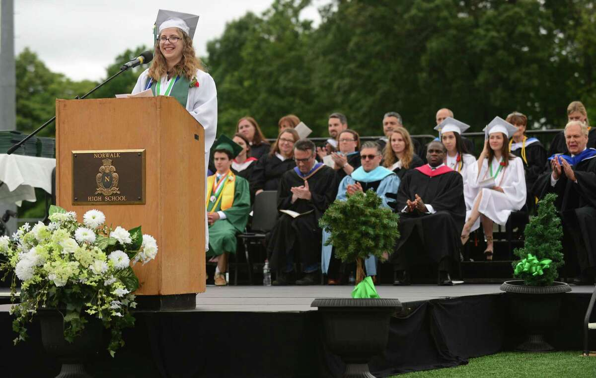 NECA Valedictorian Julia Turek gives her address during The Class of 2019 Norwalk High School Commencement Exercises Wednesday, June 12, 2019, in Norwalk, Conn.