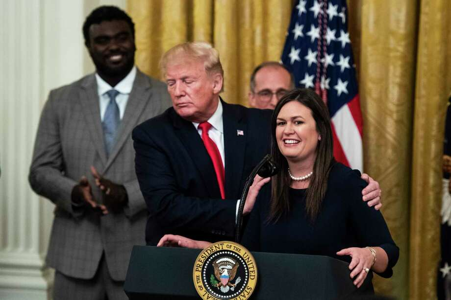 President Donald Trump announces the departure of outgoing White House press secretary Sarah Huckabee Sanders during an event at the White House on Thursday. Photo: Washington Post Photo By Jabin Botsford / The Washington Post