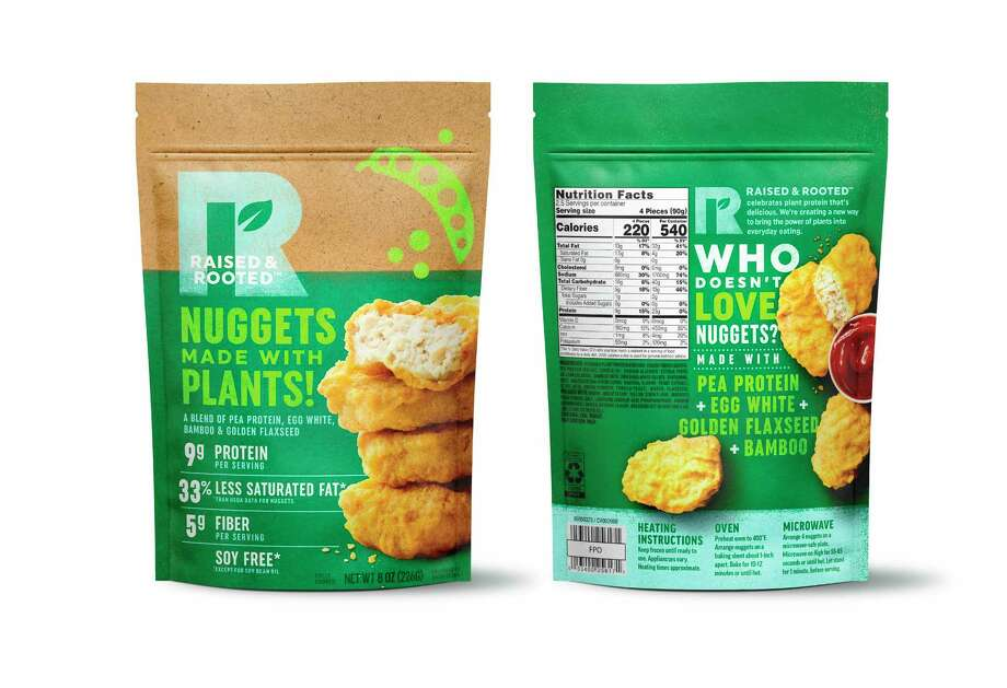 This undated product image provided by Tyson Foods, Inc. shows a plant-based meat alternative made by Tyson Foods. The nuggets made from pea protein at grocery stores this summer. The product will be sold under a new brand, Raised and Rooted, which will continue to develop new plant-based products and blends. (Kevin Smith/Tyson Foods, Inc. via AP) Photo: Kevin Smith / Tyson Foods, Inc.