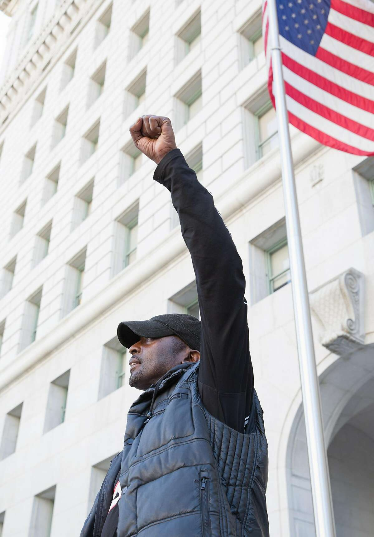 LOS ANGELES, CA - JUNE 12, 2019: Quintus Moore participates in a weekly protest outside the L.A. Hall of Justice, organized by LA Black Lives Matter, and is an activist for laws that would make it more difficult for law enforcement officers to resort to deadly force.