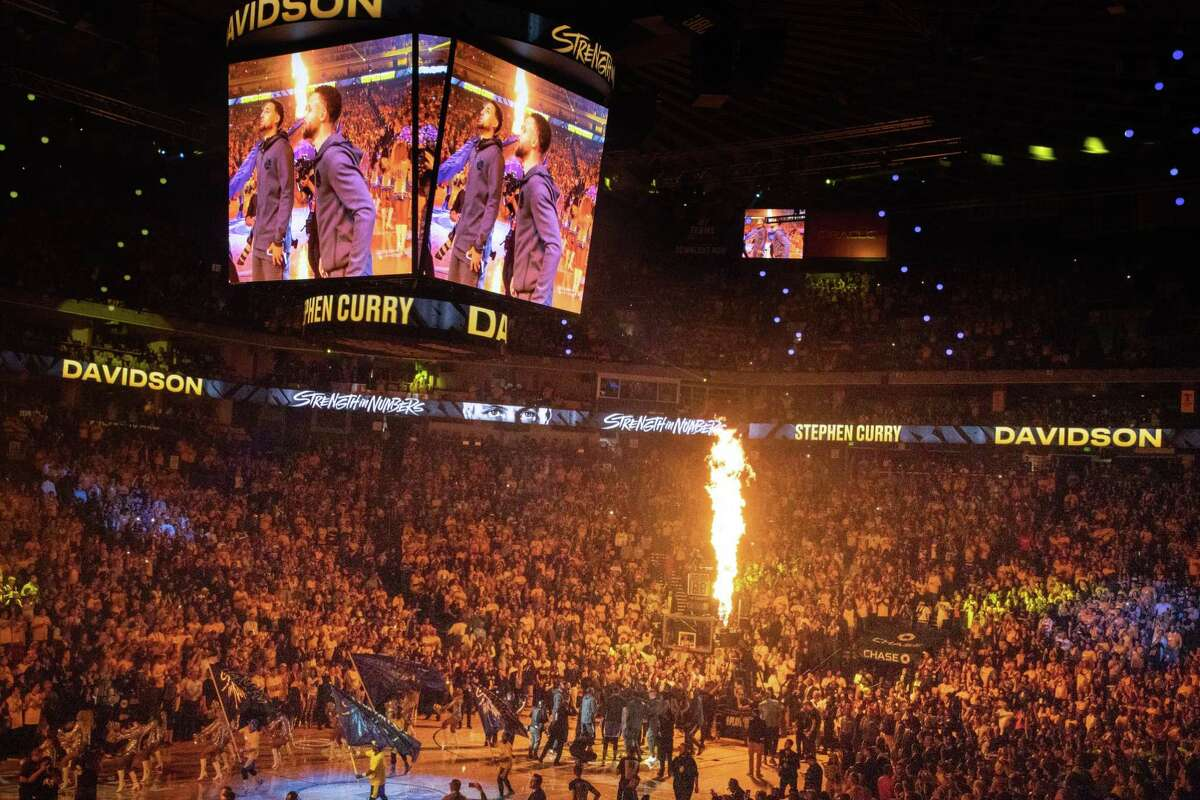 A flame shoots up before the Game 2 of the Western Conference Semifinals at Oracle Arena on April 30.