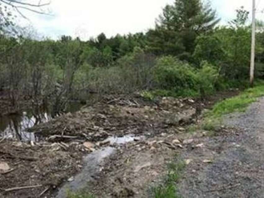 This beaver dam was damaged, causing major flooding, on May 31, 2019, in Broome, N.Y.