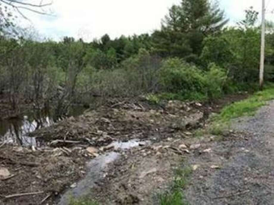 This beaver dam was damaged, causing major flooding, on May 31, 2019, in Broome, N.Y. Photo: NYS DEC