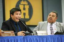 Harlandale board President Ricardo Moreno responds to the Texas Education Agency report last week. The district says the report focuses on years-old incidents and past trustees. But these issues are systemic and pervasive.