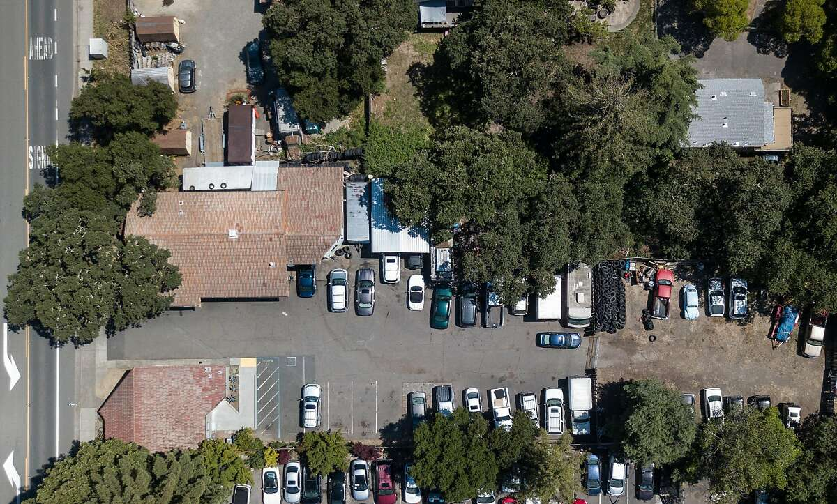 John Sun's mixed-use property is seen from above in Sonoma, California on May 31, 2019. Sun purchased the property, which has a brake and tuxedo shop on it, to take advantage of a new tax-saving opportunity Congress created in the 2017 tax law.