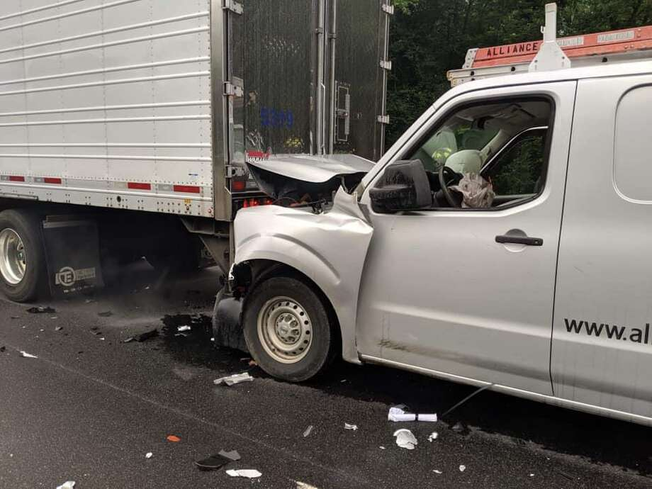 Westport, Conn., firefighters handled a crash on I-95 on Thursday, June 13, 2019. Photo: Contributed Photo / Westport Fire Department