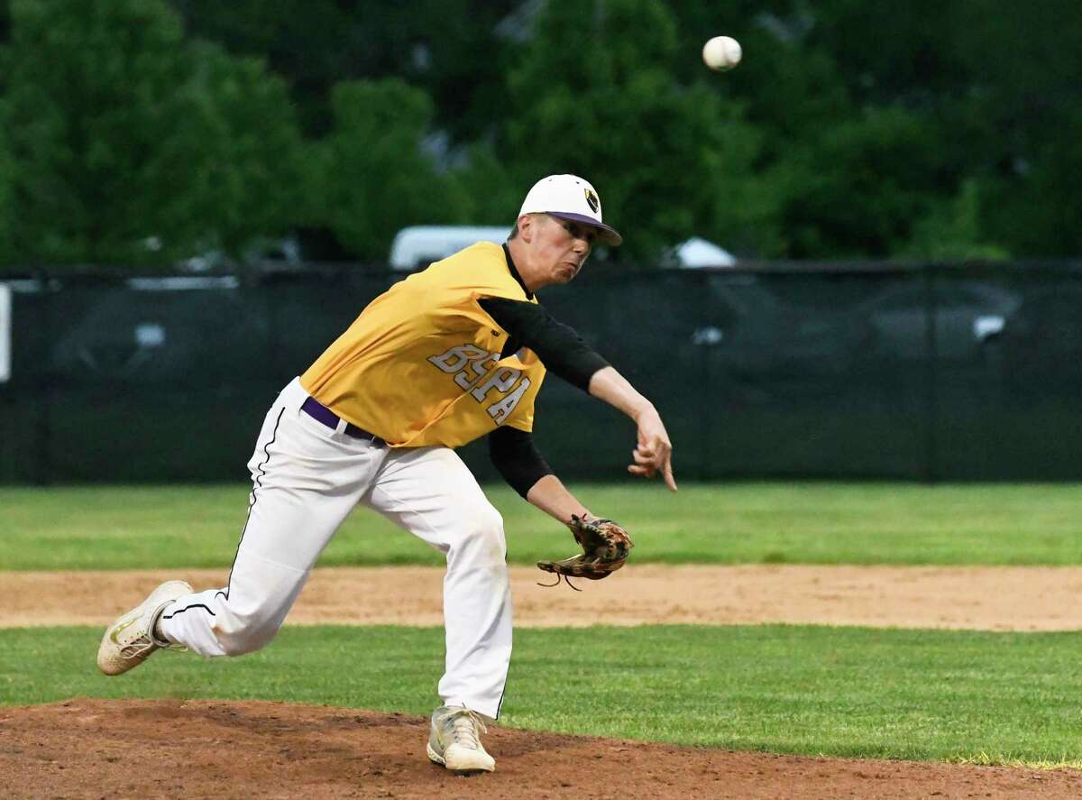Ballston Spa pitcher Jake Manderson delivers a pitch against Queensbury during a Section II Class A Boys' high school semifinal baseball game Wednesday, May 29, 2019, in Albany, N.Y. (Hans Pennink / Special to the Times Union)