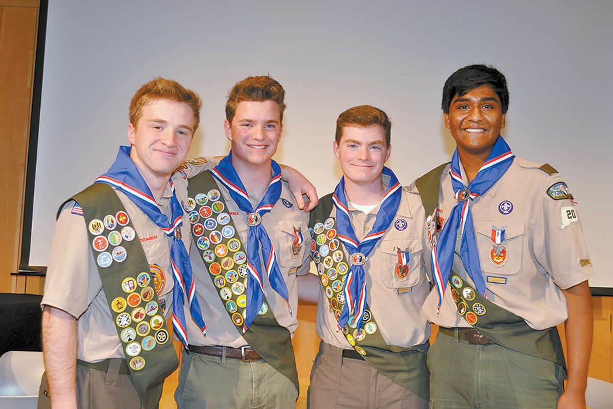 Wilton Boy Scouts, from left, Cole Avallone, Adam Harley, Evan Harley and Purab Angreji at their Eagle Court of Honor on Nov. 23.