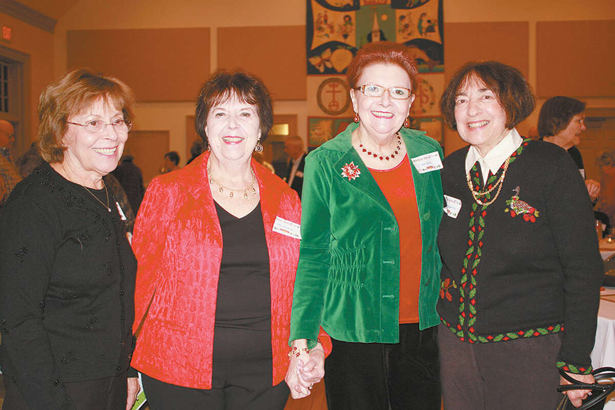 Stay at Home in Wilton's new president, Sally Kirmser, second from left, is joined by guests Rosemarie Malcarney, left, and Dee Smith, and board member Ellen Kapustka, right.