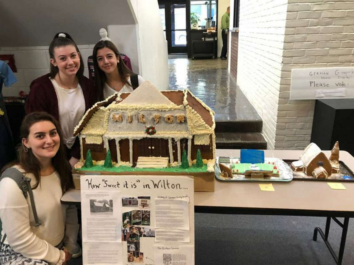 German classes winners, with their depiction of Wilton Town Hall, from left, Victoria DiRocco, Keri O'Neill, and Claire Kedzierski (not featured: Kirsten Finnecy). - Christine Higgins photo