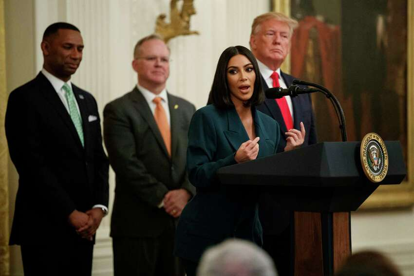 Kim Kardashian West, who is among the celebrities who have advocated for criminal justice reform, speaks during an event on second chance hiring and criminal justice reform with President Donald Trump in the East Room of the White House, Thursday, June 13, 2019, in Washington. (AP Photo/Evan Vucci)