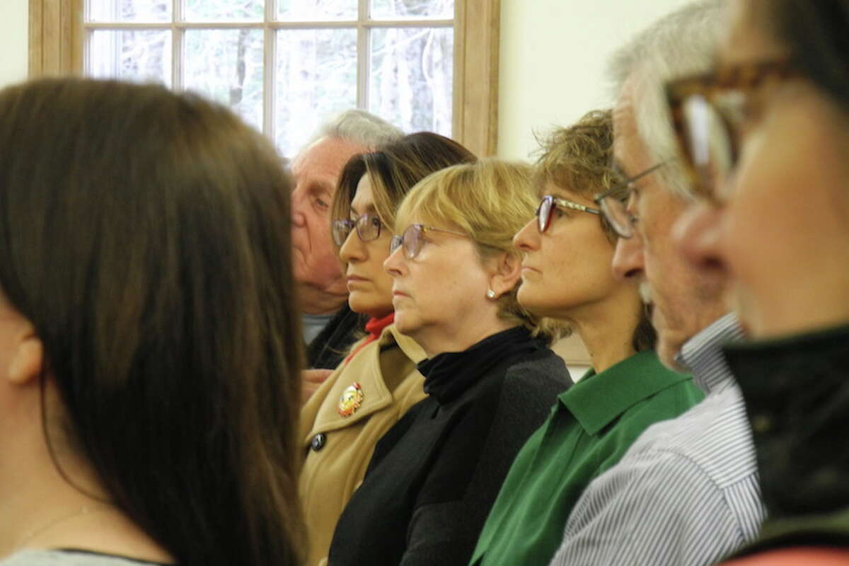 Wilton First Selectwoman Lynne Vanderslice in the audience at the gun violence vigil on Saturday. - Jeannette Ross photo