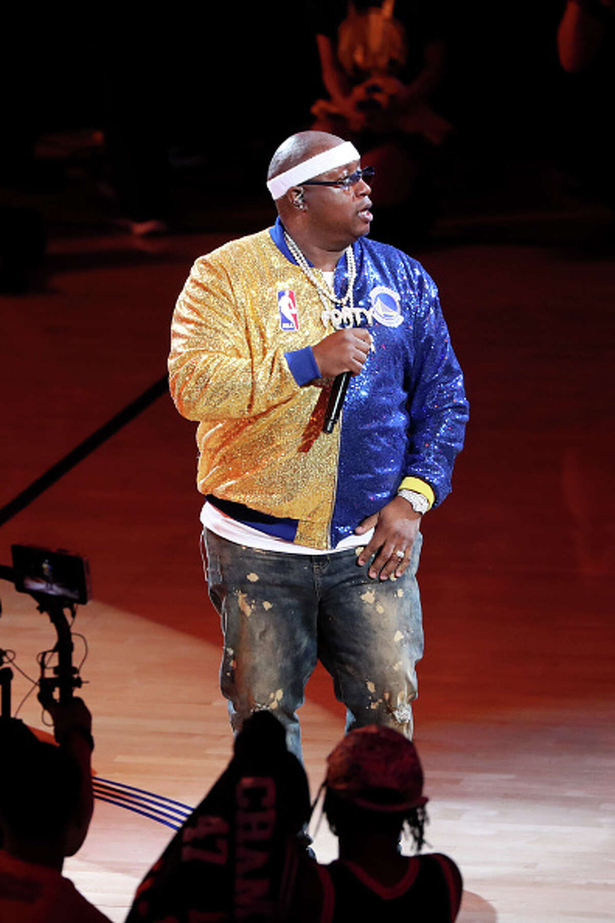 Rapper E-40 performs during halftime during the game between the Toronto Raptors and Golden State Warriors in Game Six of the NBA Finals on June 13, 2019 at ORACLE Arena in Oakland, California.