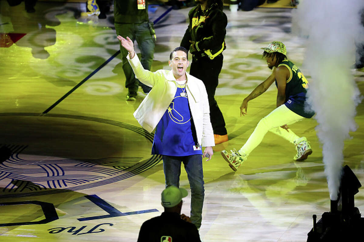 Rapper G-Eazy performs during halftime during the game between the Toronto Raptors and Golden State Warriors in Game Six of the NBA Finals on June 13, 2019 at ORACLE Arena in Oakland, California.