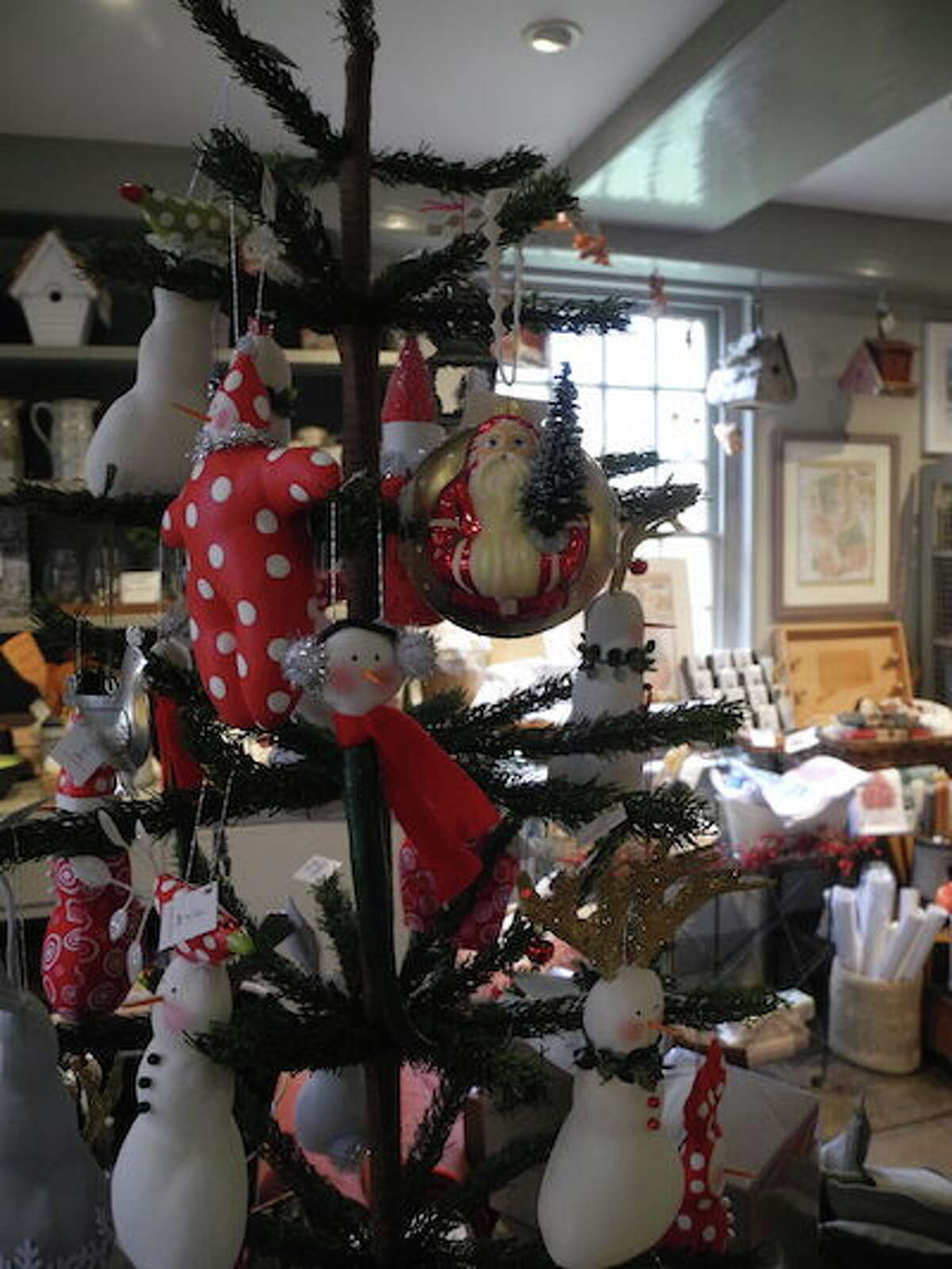 Christmas ornaments at Wilton Historical Society. - Jeannette Ross photo