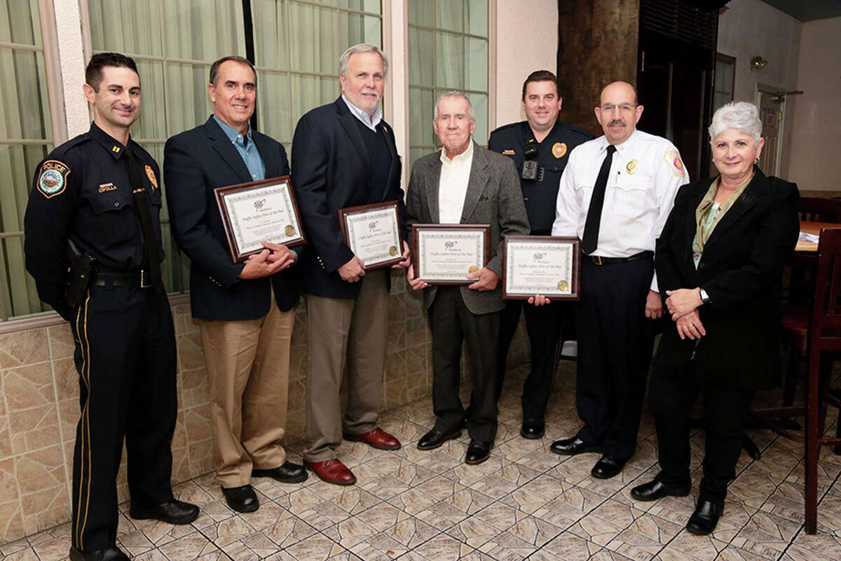 Wilton Police Capt. Rob Cipolla, CERT members T.G. Rawlins, Pat Russo, and Jack Majesky; Wilton Police Lt. David Hartman, and Wilton Deputy Fire Chief Mark Amatrudo, with AAA Public Affairs Manager Fran Mayko.