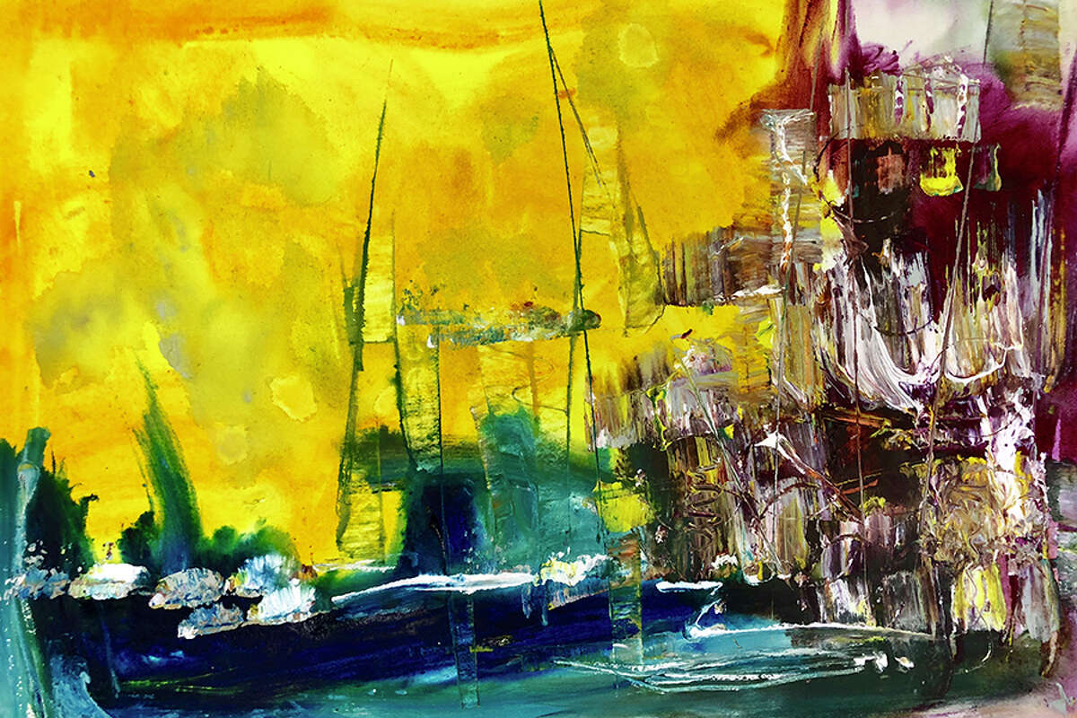 Ship Yard, a watercolor by Mark Schiff.