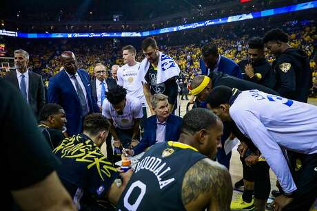 Coach Steve Kerr speaks to his players during the first half of Game 6 of the NBA Finals between the Golden State Warriors and the Toronto Raptors in Oakland, California, on Thursday, June 13, 2019.