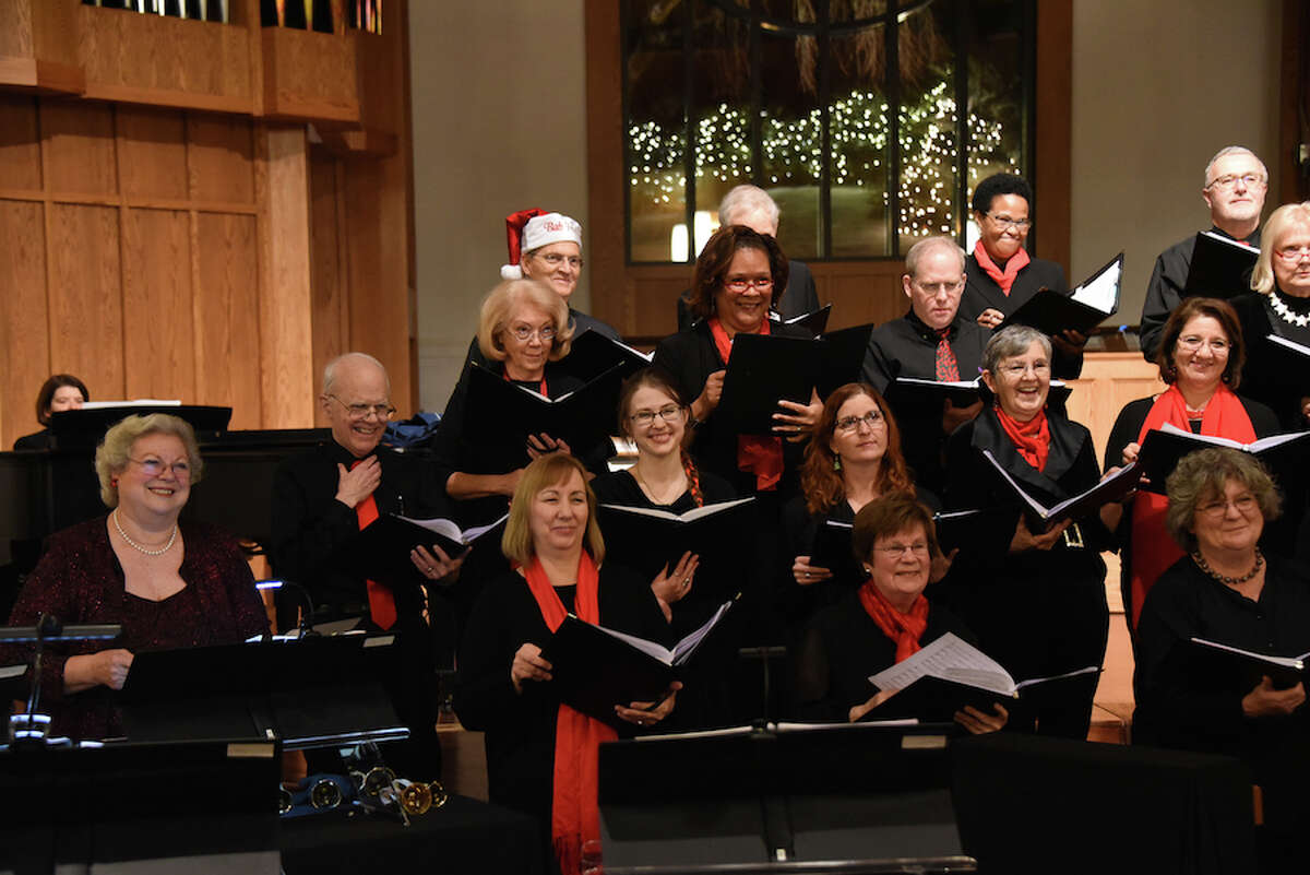 Members of the Music on the Hill Festival Chorus in the 2017 Christmas concert at St. Matthew's Episcopal Church. Singers include Wilton residents Jennifer Wallace (2nd row, 3rd from left), Janet Shipp (3rd row, 2nd from left), Bob Hoch (3rd row, 3rd from left) and Carol Bogard (front row, right). - Contributed photo
