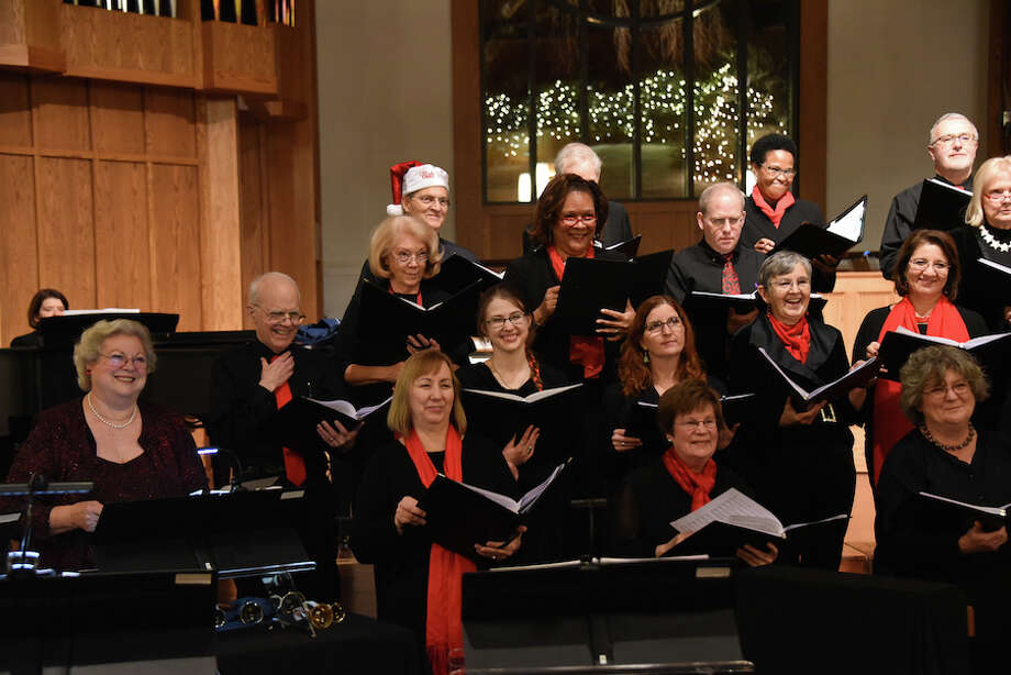 Members of the Music on the Hill Festival Chorus in the 2017 Christmas concert at St. Matthew's Episcopal Church. Singers include Wilton residents Jennifer Wallace (2nd row, 3rd from left), Janet Shipp (3rd row, 2nd from left), Bob Hoch (3rd row, 3rd from left) and Carol Bogard (front row, right). — Contributed photo / Copyright Tracy Pennoyer203-536-9321