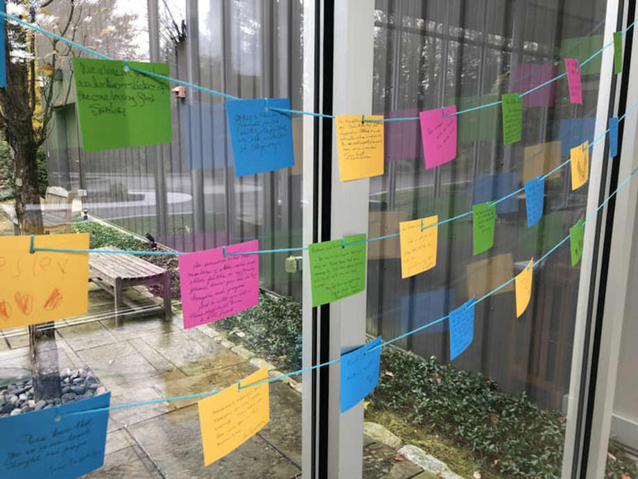 Members of the Wilton Presbyterian Church wrote letters of support to members of Temple B'nai Chaim in light of the Pittsburgh shooting tragedy. — Contributed photo