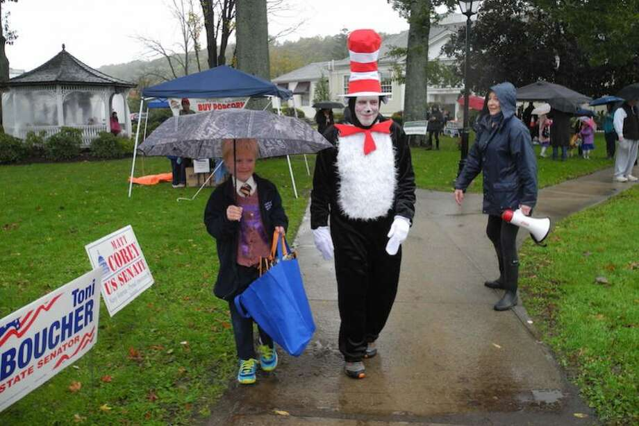 Max Fleming, 9, leads the parade with the Cat in the Hat
