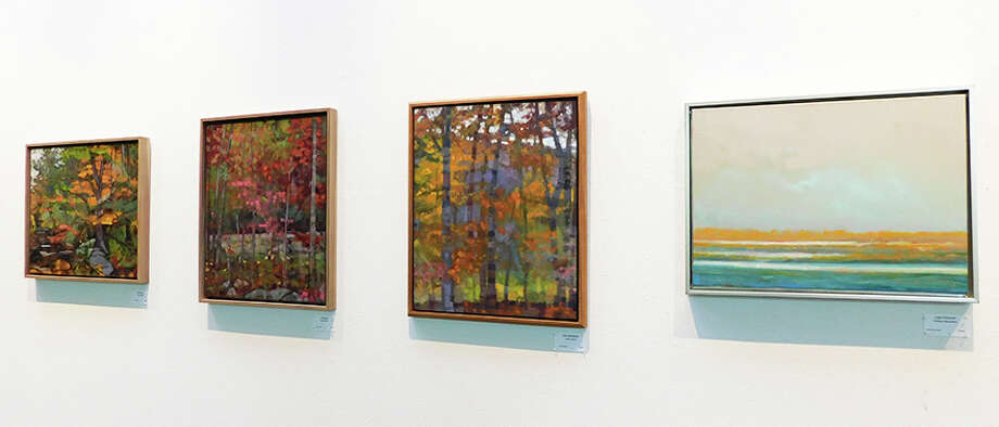 Paintings by John Harris and Will McCarthy at the Wilton Library. — Kendra Baker photo / NikonCoolpix